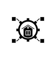 smart habitation black icon sign on vector image