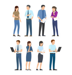 Startup poster with business people men and women vector