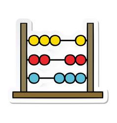 Sticker a cute cartoon maths abacus vector