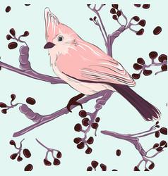 tender pink bird and plant pattern wild bird vector image