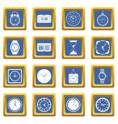 time and clock icons set blue vector image