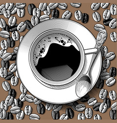 top view a white cup with a spoon on the vector image