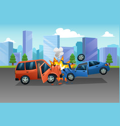 Two cars in an accident vector