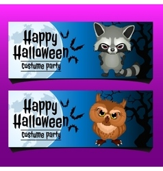 Two horizontal card for happy Halloween vector image