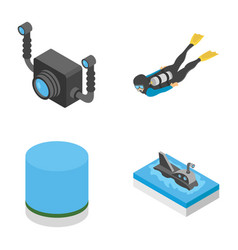 underwater snorkelling icons pack vector image