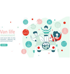 van life movement lifestyle concept family in a vector image