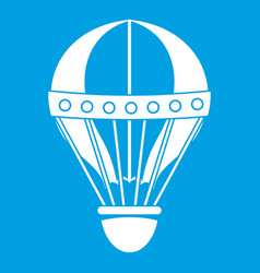 Vintage hot air balloon icon white vector