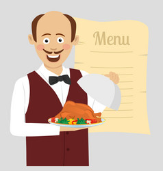 waiter with tray serving roasted poultry vector image