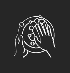 Washing dishes chalk white icon on black vector