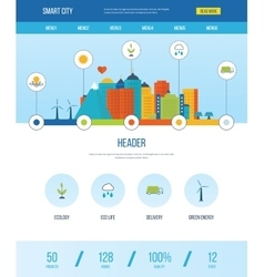 Web design template with icons of smart city vector