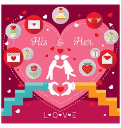 Wedding Frames with Hands Love Concept and Icons vector