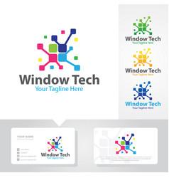 window tech logo designs vector image