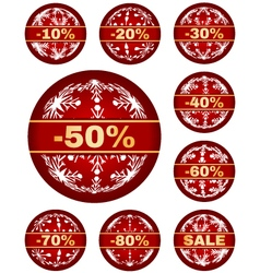 winter sale tags with 10 - 80 percent text vector image