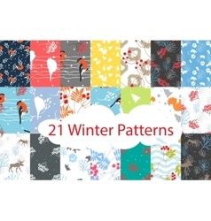 Winter seamless pattern bundle set vector image