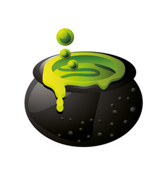 Witch cauldron with bubbling green liquid on white vector