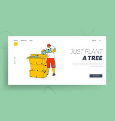 Worker packing banana on plantation landing page vector