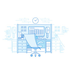 Workplace in open space office vector