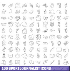 100 sport journalist icons set outline style vector image vector image