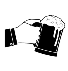 Black glass of beer in the hand icon design vector
