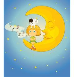 girl dog and moon vector image vector image
