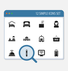 set of 12 editable hotel icons includes symbols vector image vector image