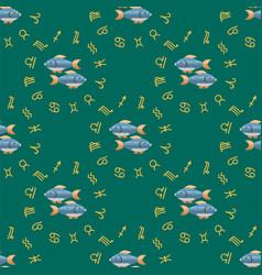 zodiac fish seamless pattern horoscope astrology vector image