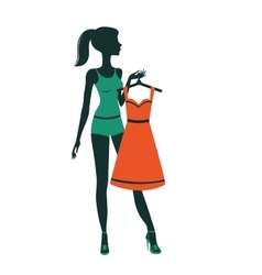 An of a pretty girl getting dressed vector image