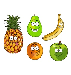 Cartoon apple banana orange pineapple and pear vector image vector image