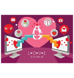 Computer Monitor and hands Love Online Concept vector image