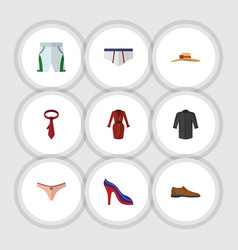 flat icon clothes set of cravat heeled shoe vector image