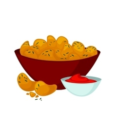 Fried chicken nuggets with sauce vector image
