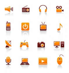media and telecom icons vector image