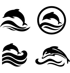 Silhouettes of the dolphins jumping through a wave vector image vector image
