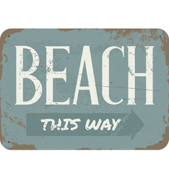 Vintage Beach Metal Sign vector image