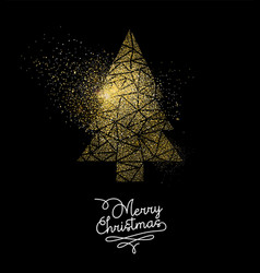 Christmas gold glitter pine tree decoration card vector
