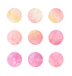 hand drawn watrcolor circles of pink and yellow vector image