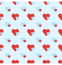 Seamless retro pattern two hearts vector image