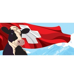 Cow and Swiss flag vector image vector image