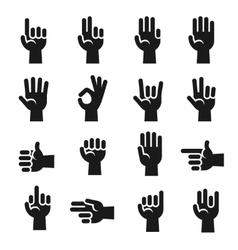 Hands icons set finger counting stop gesture vector image