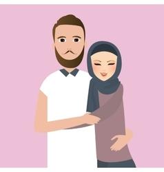 Islam couple married man woman wear veil scarf vector image