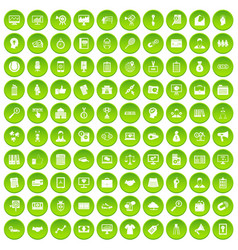100 partnership icons set green circle vector