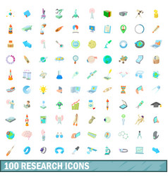 100 research icons set cartoon style vector image