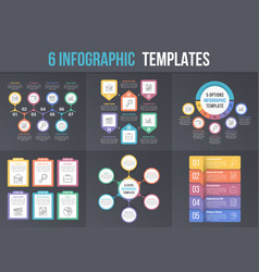 6 infographic templates vector image