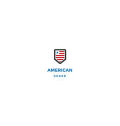 american us flag with shield for secure guard vector image