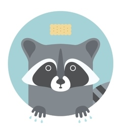 Animal set Portrait in flat graphics - Raccoon vector