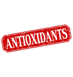 Antioxidants red square vintage grunge isolated vector