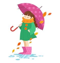 Autumn cartoon girl holding an umbrella vector