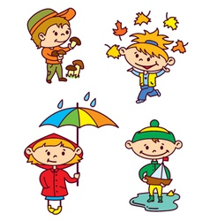 Autumn children vector