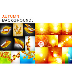 autumn orange and yellow shiny backgrounds set and vector image