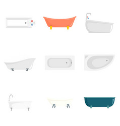 Bathtub interior icons set flat style vector